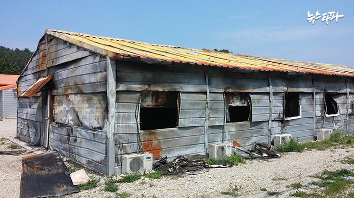 ▲ 지난 8월 12일 화재로 전소된 삼척시 원덕읍 임원리의 건설노동자 숙소.