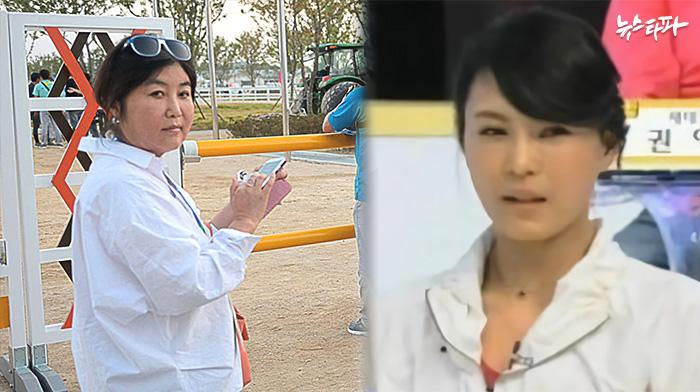 최순실(왼쪽)과 윤전추(오른쪽. MBN 방송화면 캡쳐)