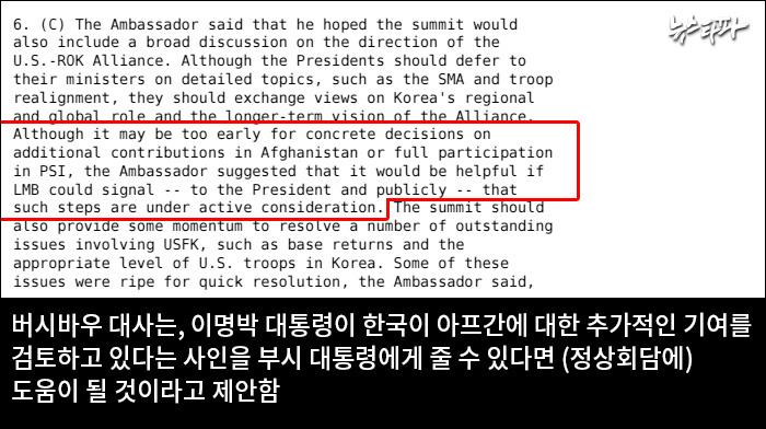 ▲ 2008년 4월 8일 주한 미 대사관 외교전문
