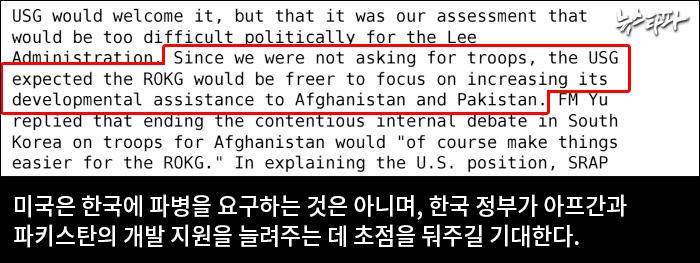 ▲ 2009년 4월 20일 주한 미 대사관 외교전문