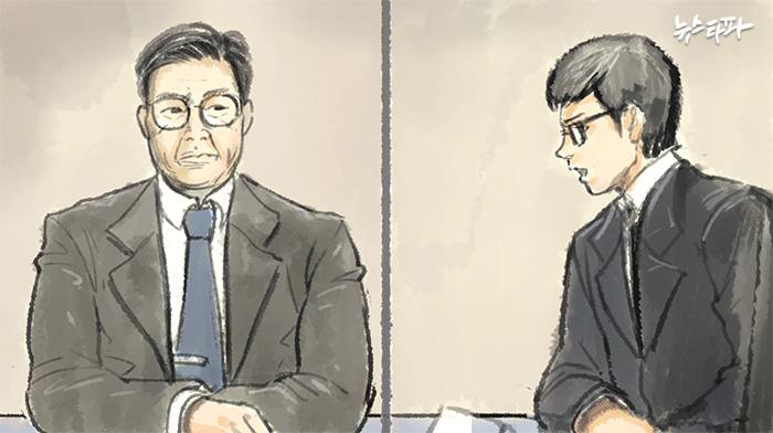 홍완선 국민연금 기금운용본부장(왼쪽)과 채 모 리서치 팀장(오른쪽) 삽화