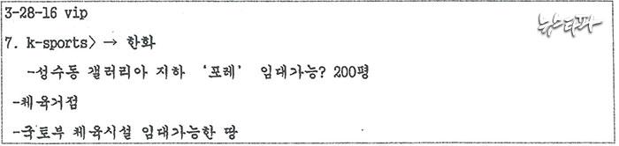 안종범 수첩(2016.3.28.일자)