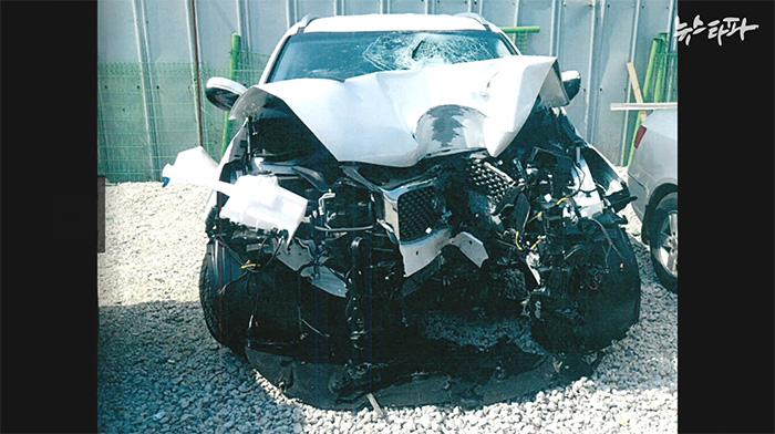 ▲ 고양시 급발진 의심 사고에서 파손된 차량 쏘렌토