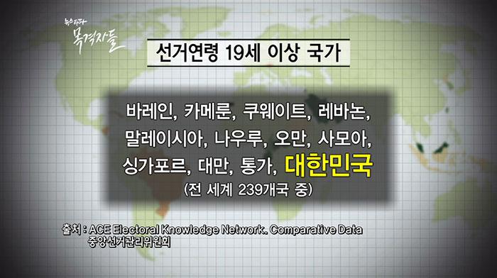 ▲ 선거연령을 19세 이상으로 규정하고 있는 국가의 목록이다. (출처 중앙선관위)