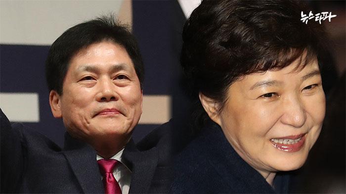 대선 출마를 선언한 김진 자유한국당 상임고문(좌)은 1997년 '김대중 비자금 의혹사건'처럼 박 전 대통령에 대한 수사를 대선 후로 미뤄야한다고 주장했다.