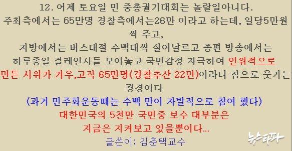 ▲ '김춘택 교수'라는 인물은 촛불집회에 대해서도 비판적 글을 작성했다.