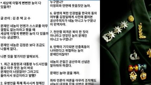 각종 비방글 '김춘택 교수'는 대령 예편 80대 남성