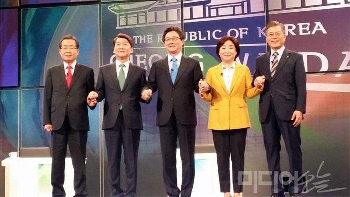 SBS가 주관한 대선후보 TV 토론회 ⓒ 미디어오늘