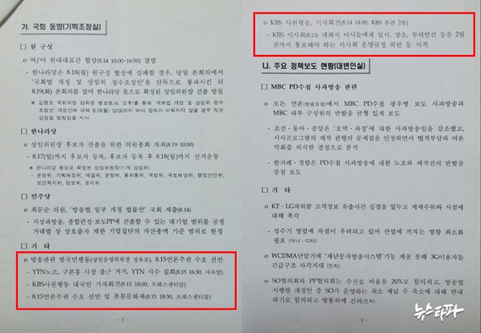 2008년 8월 16일 자 제1기 방통위 '위원장 주재 간부회의 의제' 가운데 '국회 동향(기획조정실)'. YTN, KBS, 방송장악‧네티즌탄압저지국민행동의 움직임을 살펴 의제로 올렸다.