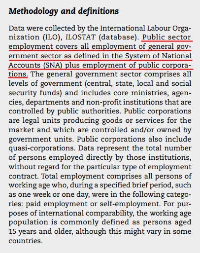 OECD는 공공부문 고용에 일반정부와 공기업을 함께 포함 시키고 있다.