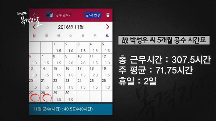 ▲ 숨진 박상우 씨의 2016년 11월, 노동시간. 일자별로 공수가 표시돼 있다. 11월 한달 동안 단 이틀만 쉬었다.