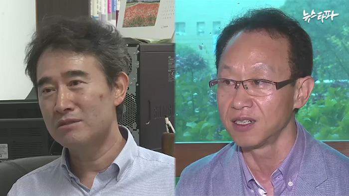 ▲ 영산대 교수협의회 공동대표 류석준 교수(좌)와 김진환 교수