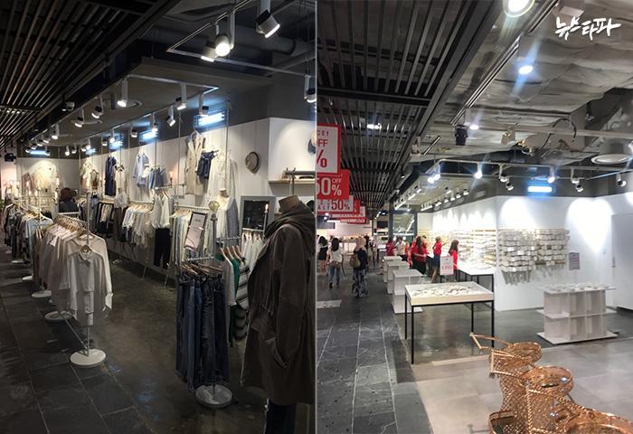 ▲ 명동 DI몰 지하1층에서 2015년 4월부터 영업을 해왔던 의류업체 '데어'(좌측). 7월8일 새벽 데어의 옷가지와 현금, 각종 물품들은 모두 철수됐고, 다음날 아침 세일50의 악세사리 매장으로 바뀌어 있었다.