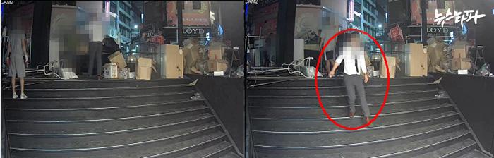 ▲ 7월8일 새벽 4시 30분 경 찍힌 'DI몰' 외부 CCTV화면. 세일50의 이OO 대표가 '데어'의 물품(행거)을 옮기는 작업자들에게 지시하는 듯한 장면이 찍혀 있다.