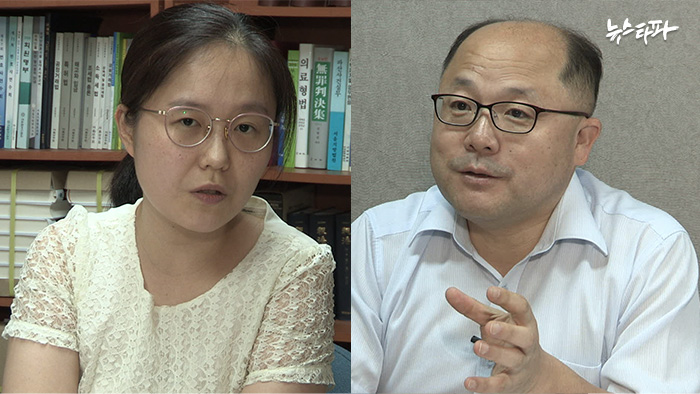 ▲ 민들레 신윤경 변호사(좌), 장경욱 변호사