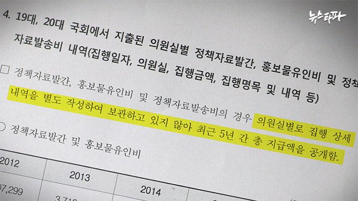 ▲ 국회사무처는 의원 별 정책자료집 발간 비용을 별도로 작성하지 않는다며 의원 전체 총액만 공개했다.