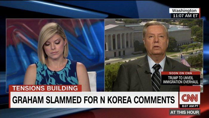 ▲ 북한의 대륙간탄도미사일 발사 관련 인터뷰를 하고 있는 린지 그레이엄 상원의원