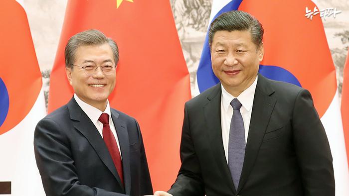 ▲지난 12월 방중한 문재인 대통령과 시진핑 중국 국가주석